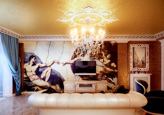 Michelangelo Teremtés című művének plazmatévével való újraértelmezése a nappaliban.