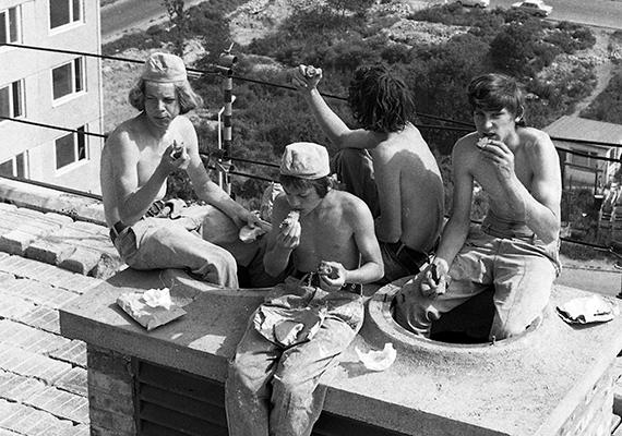 Fiatal munkások egy budapesti panelépítkezésen, 1974-ben. A panelházak azonban nemcsak a volt keleti blokk országaiban terjedtek el, gyors és olcsó mivoltuk miatt a világ számos részén találni példákat jelenlétükre.