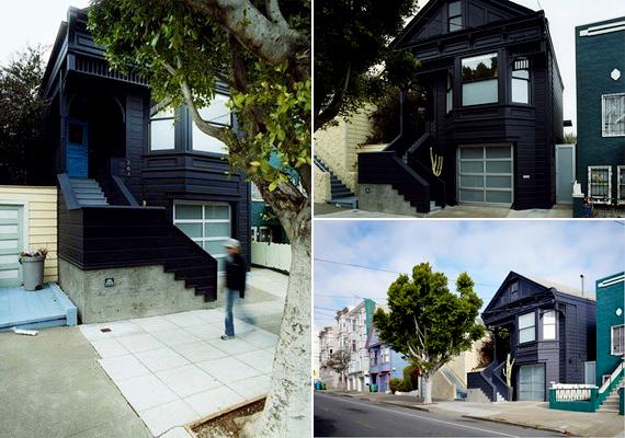 Ha a fekete színt egy viktoriánus stílust idéző épületen alkalmazzák, az kifejezetten riasztó lehet, bár a türkiz mellett kifejezetten jól mutat a sötét kis ház.