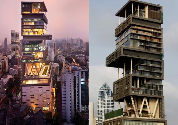 Az Indiában, a hatalmas nyomornegyedéről is ismert Mumbai-ban található Antilia is sokakban keltett felháborodást megépítése után, az üzletember Mukesh Ambani által birtokolt épület 4500 négyzetméterén ugyanis csak ő, felesége, valamint három gyermekük él. A házban dolgozó személyzethez azonban hatszáz fő tartozik. Ha többet szeretnél tudni az épületről, kattints ide!
