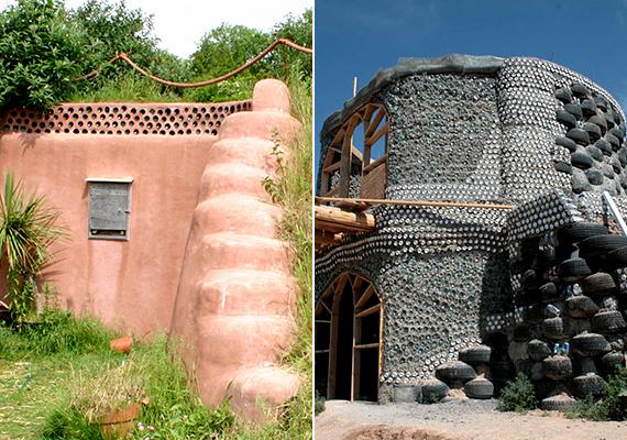 Az újrahasznosítás és a környezettudatosság jegyében számos olyan ház épült meg a világban, melyhez használt gumiabroncsokat is felhasználtak. A képeken két ilyen példa látható - balra a híres Earthship Brighton nevű ház megoldásával.