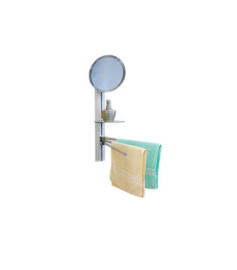 Fali tükör a PraktikertőlHa még egy szekrény elhelyezésére nincs szükség a fürdőben, de jól jönne még egy kis tárolóhely, a Praktiker fali tükrét neked találták ki. Törölközőszárító, polcocska és tükör egyben - utóbbi nagyítós.
