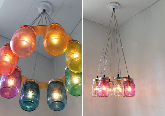 A befőttesüveg sem mondható drága alapanyagnak, mégis meseszép lámpát alkothatsz belőle. Az üvegeket natúr formájukban vagy a képeken látható módon, befestve is hasznosíthatod.