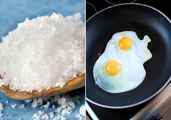 Ha makacs szennyeződés borítja a teflonserpenyőt, viszont nem szeretnéd megkarcolni, megsérteni a felületet, használat után forralj benne egy kevés sós vizet, a só ugyanis magába szívja és fellazítja a szennyeződéseket.