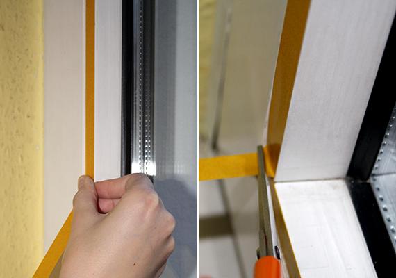 A fóliát kétoldalú ragasztócsík segít majd rögzíteni, elsőként tehát ezt kell felragasztani, körben az ablakkeret belső felére.
