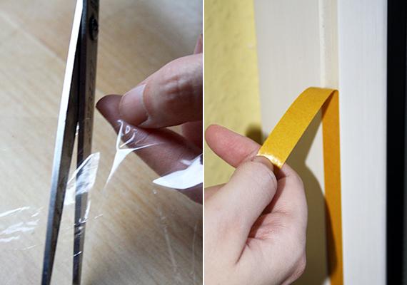 A fólia hosszát úgy is lemérheted, hogy az ablakhoz illeszted, de négy-öt centi ráhagyással számolj. Ha megfelelő méretre vágtad a fóliát, húzd le a ragasztócsík védőpapírját.