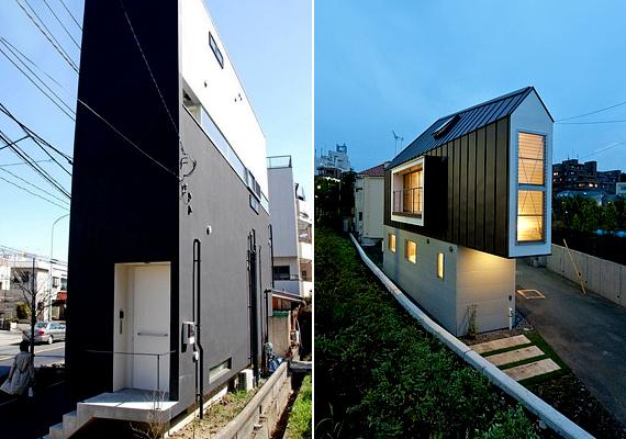 Japán különösen híres takarékos, szűk házairól. Az első képen látható ház Tokióban, a második képen látható Horinouchiban áll.