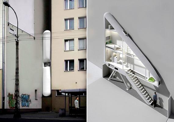 A varsói Keret House 21. századi koncepció. A világ legszűkebb háza címre pályázó épület Jakub Szczęsny nevéhez köthető.