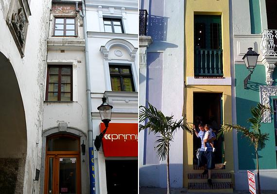 A szűk házak a világ minden tájára jellemzőek. Az első képen egy pozsonyi ház, a másodikon egy Puerto Ricó-i látható.