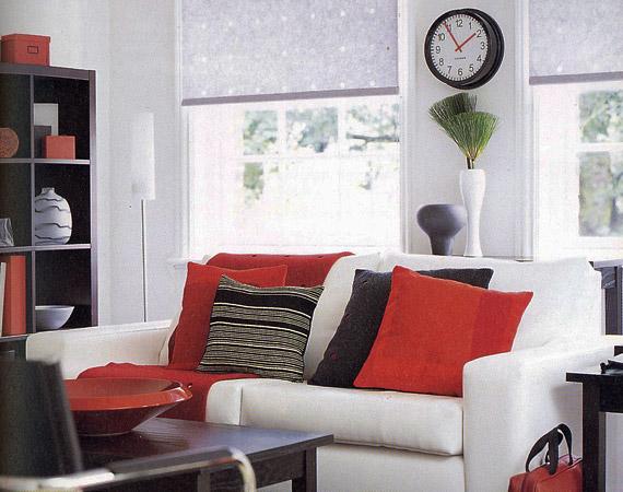 A piros és fekete szín együttes használata nagyon modern benyomást kelt, mégsem rideg.