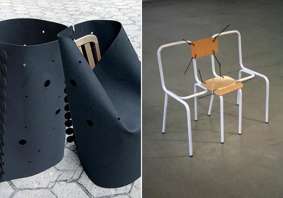 A gondosan beburkolt szék a Beton Design alkotása, az összeférceltnek tűnő darab pedig Andrea Magnani nevéhez köthető.