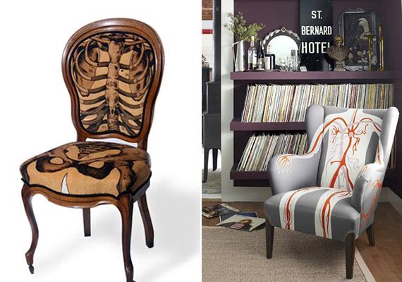 A különféle anatómiai mintákkal ellátott bútorokat lehetnek modernnek és érdekesnek nevezni, bár kétséges, hogy otthonosabbá teszik a lakást.