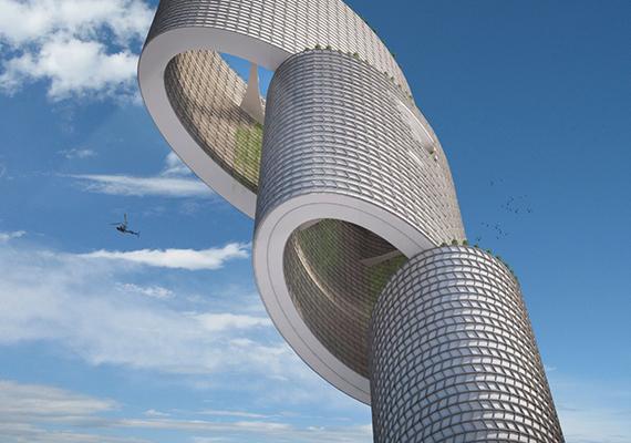 A szélturbinákkal felszerelt Vertical City, vagyis függőleges város - ha egyszer elkészülhetne - a koncepció szerint a Venezuela nyomornegyedeiben élőknek is alternatívát jelenthetne.