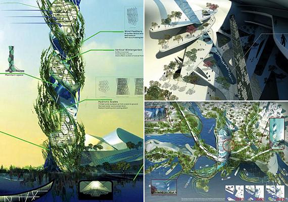 A Twisting Acupuncture Tower for Taiwan névre keresztelt projekt megálmodói olyan lakóépületet hoznának létre, mely tisztítaná az óceán vizét, szél- és napenergiát használna fel, újrahasznosítaná a hulladékot, illetve a zöld algamembrán által is energiához juthatna.
