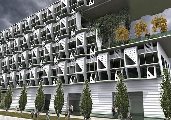 Sok más megoldással ellentétben a Weave Housing névre keresztelt projekt kevésbé futurisztikus: a természeti energiaforrásokra alapozó lakóépület a Meridian105 koncepciója, és eredetileg Denverbe tervezték. Itt olvashatsz róla bővebben.