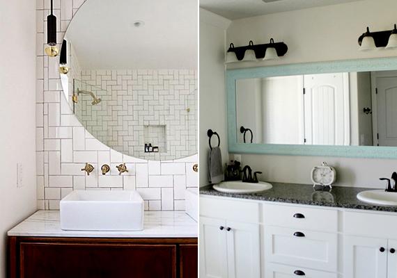 A tükör teret mélyítő hatása a fürdőszobában fokozottan érvényesülhet, mivel ez az alapjában véve is az egyik legfontosabb kiegészítője. Érdemes belőle minél nagyobbat választani.