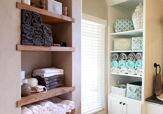 Ha nagyobbnak szeretnéd láttatni a fürdőt, a zárt szekrények helyett érdemes nyitottakat, illetve polcokat alkalmaznod.