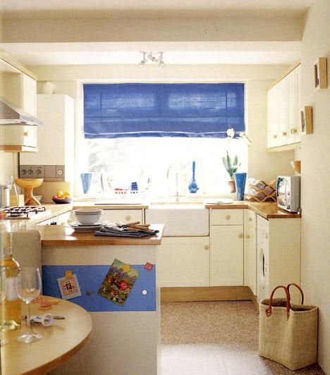 Élénk kiegészítők  Ha nem vagy elég bátor ahhoz, hogy az egész konyhát vibráló színekbe burkold, helyezz el néhány élénk, friss színű kiegészítőt, így a konyha tágas és világos marad, mégis életteli és vidám lesz.