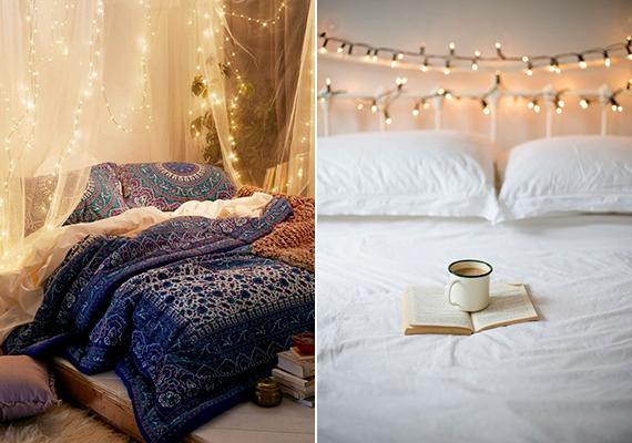 Csodás hangulatot teremthet a hálószobában egyetlen fényfüzér is. Ha nincs lehetőséged a bal oldali képen látható módon, függönyszerűen elhelyezni, tedd egyszerűen az ágykeretre.