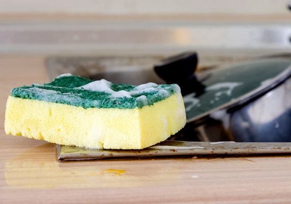 A konyhai szivacs szintén komoly problémát jelenthet a baktériumok szempontjából. Ha tisztának tűnik is, fontos, hogy gyakran cseréld, emellett sose hagyd vizesen, még akkor se, ha mosogatószeres - mindig facsard szárazra, ha már nem használod.