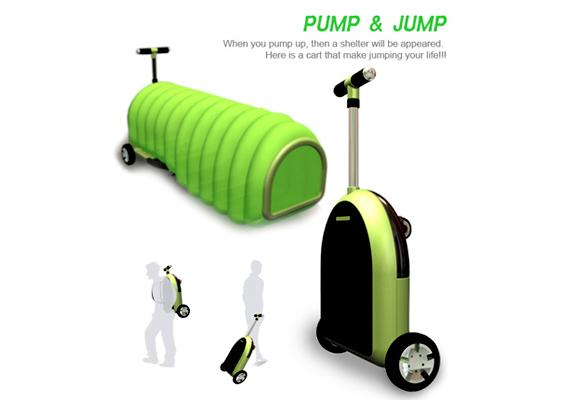 A Pump and Jump nevű házat, mely hátizsákként is hordható, úgy kell felpumpálni. A megoldás Jeong-Yun Heo, Seong-Ho Kim és Chung Lee tervezők nevéhez köthető.