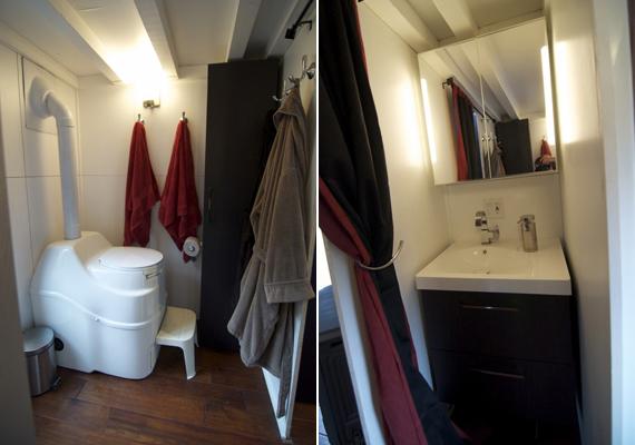 Képek a mosdóról, melynek érdekessége, hogy a WC komposztáló szerepet is ellát.