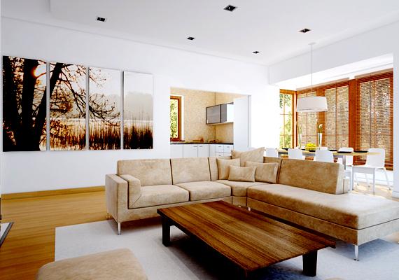 A falra akasztott képek is egy csapásra átalakítják a nappali hangulatát: nem kell azonban drága vagy épp antik hatású festményre gondolnod, a különféle bútor- és barkácsáruházakban már néhány ezer forintért vásárolhatsz posztereket, illetve modern képsorozatokat.