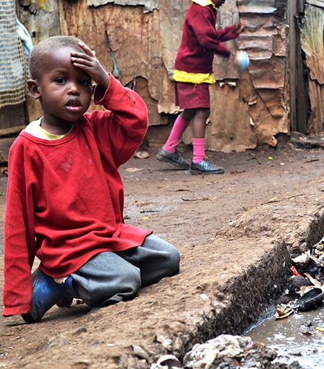 Kibera, Nairobi, Kenya                         A kenyai Kibera nyomornegyedben ivóvíz sincs, és jellemző, hogy lakosainak egy része kolerától szenved, vagy abba hal bele, még ma, a 21. században is. Elektromosság sincs, drog, alkohol és bűnözés azonban annál több.