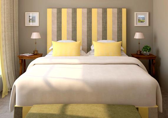 Ha nincs kedved kifesteni a falat, akkor egy furnérlapra szegecselj fel csíkos textilt, és állítsd az ágy mögé. Ha a függönyével azonos színeket választasz, nagyon harmonikus lesz az összhatás.