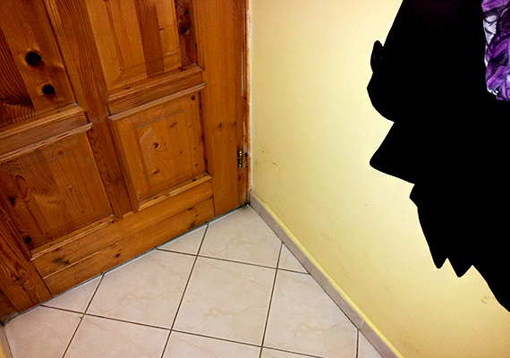 A penész megjelenése ebben az esetben tipikus: a bejárati ajtó mellett ütötte fel a fejét, ott, ahol a beáramló hűvös levegő miatt a pára lecsapódhat, a nedves közeggel táptalajt adva a gombák szaporodásának.