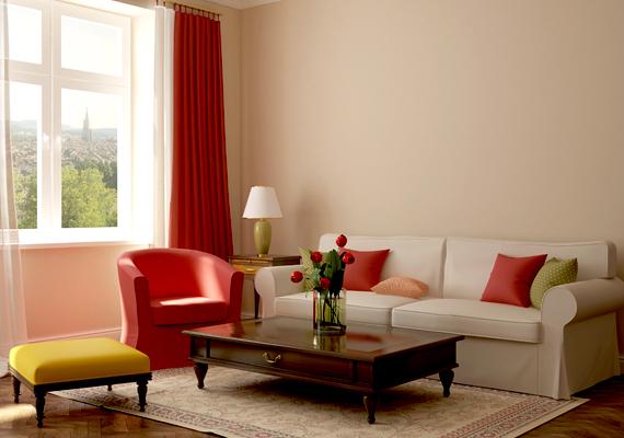 De egy-egy vörös bútordarab is feldobja a helyiséget.