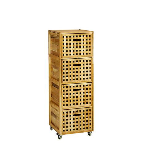 Görgős fa tárolóA JYSK négyfiókos, görgős tárolója jó megoldás a fürdőszobában a törölközők, kozmetikumok és tisztálkodószerek tárolására. A görgőknek köszönhetően könnyen mozgatható, a lyukacsos kialakítás pedig lehetővé teszi a megfelelő szellőzést.