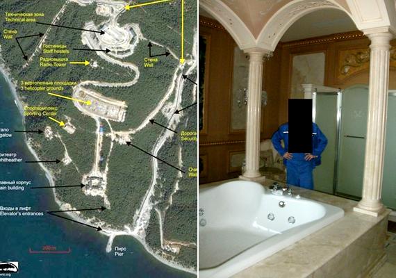 A palota és az azt körülvevő terület térképe, a jobb oldali takarásban pedig a férfi, aki vélhetően kiszivárogtatta a képeket.