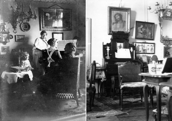 A bal oldali képen az állomásfőnök otthona látható 1905-ből, míg a jobb oldalin a Zichy-kastély egyik pihenőszobája 1906-ból.