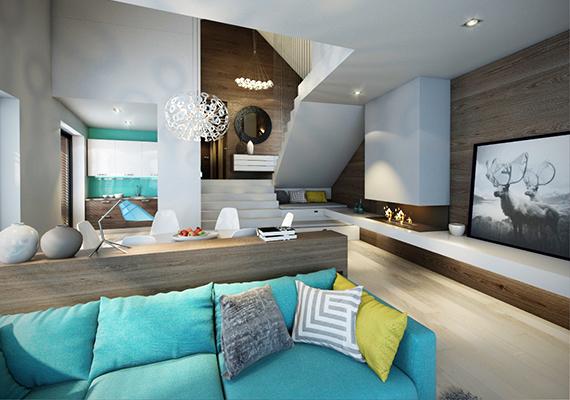A nappali fölött kapott helyet a szülői háló egy saját fürdővel és gardróbbal, hasonlóan, mint egy mini apartman.