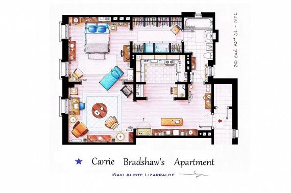 Íme, Carrie Bradshow nagyvárosi lakása a Szex és New York című sorozatból, még a filmek előtt.