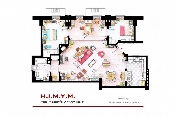 És egy másik híres New York-i lakás, mely szintén számos évadon át szolgált az események egyik fontos helyszínéül: Ted Mosby - és időközben Marshall, Lily és Robin - otthona az Így jártam anyátokkal című sorozatból.
