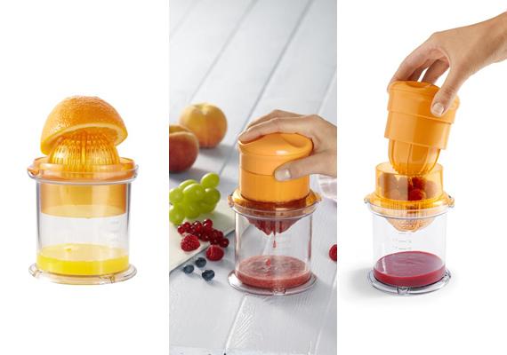 Minek költenél egészségtelen, rostos üdítőkre, amikor házilag bármilyen gyümölcslevet elkészíthetsz? Ezzel a műanyag préssel bármelyik nyári gyümölcsöt kifacsarhatod, hogy egészséges dzsúzzal indulhasson a nap. 2995 forintért lehet az eszköz a tiéd.(%oldalmero(http://ad.adverticum.net/img.prm?zona=1759478&kampany=2458384&banner=2458373&ord=RANDOM_NUMBER)%)