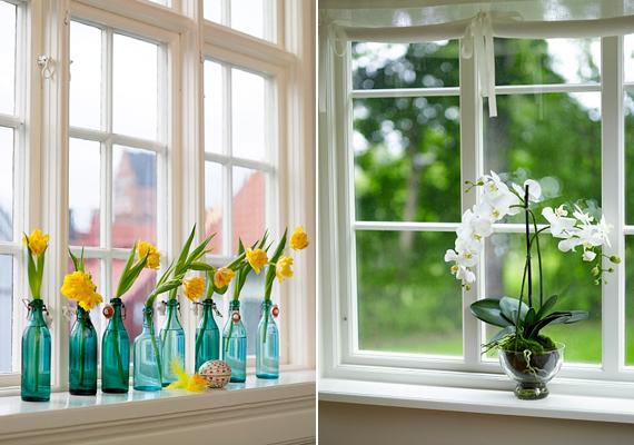 Az olyan területeken, ahol nem zavar, ha esetleg a szomszédos házakból belátnak hozzád, akár el is hagyhatod a függönyt, minél több fényt engedsz a lakásba, annál tágasabbnak tűnik majd. A tavaszi hangulat érdekében pedig tegyél virágokat az ablakba, a külső vagy belső párkányra - utóbbira rögzítsd megfelelően a cserepet -, így a növények helyet sem vesznek majd el a lakásból.