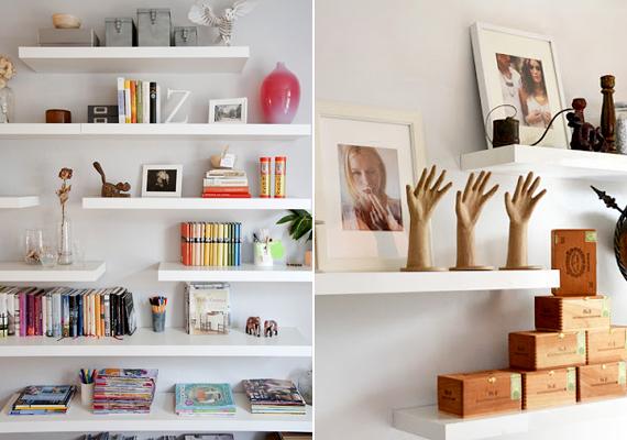 A zárt szekrények helyett használj nyitott polcokat: a tértágítás mellett a rajtuk elhelyezett tárgyak fel is dobják a lakást.