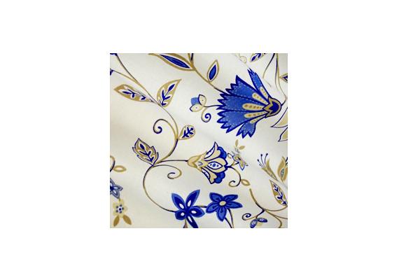Az Onlinetextil.hu kék virágos függönyének méteréért 2265 forintot kell áldoznod.