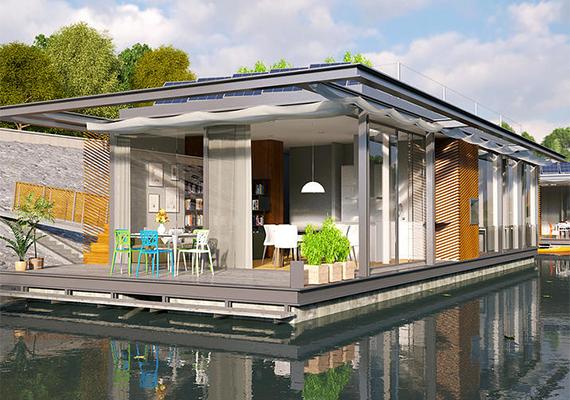 A folyó felőli oldalon kapna helyet az étkező és a nappali, emellett a hálószobából is gyönyörködni lehetne a látványban.