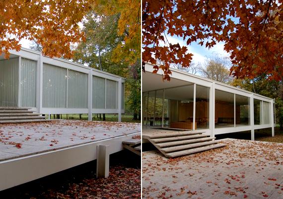 Az amerikai, illinoisi Farnsworth House Ludwig Mies van der Rohe nevéhez köthető.