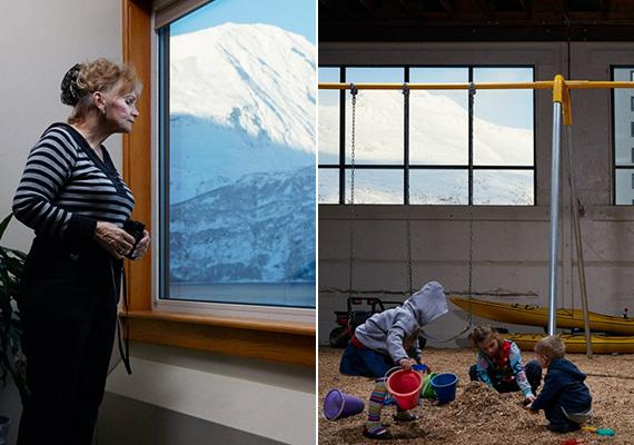 A fotós Reed Young zseniális sorozatot készített az itt élőkről. A bal oldali kép tanúsága és az ahhoz fűzött kommentár szerint az itt lakók szinte mindegyikének van távcsöve, mellyel azonban nemcsak a környéket, de egymást is szemmel tartják. A jobb oldali képen sajátságos megoldás látható a gyerekek szabadidős tevékenységének biztosítására, az időjárás ugyanis e tekintetben is komoly korlátokat szab.