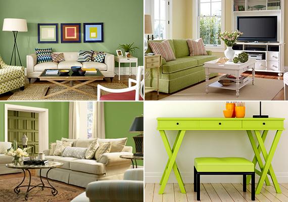 Bár sokak szerint a falak zöldre festése szokatlan lehet, bizonyos árnyalataiban a nappaliban sem mutat rosszul, emellett persze az sem marad hatástalan, ha csak egy-egy meghatározó bútordarab erejéig veted be.