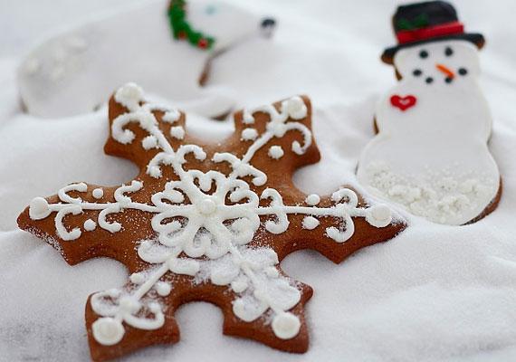 A hópelyhek csodálatosak, és cukormázból is jól mutatnak, ahogy a hóember is nagyon cuki.