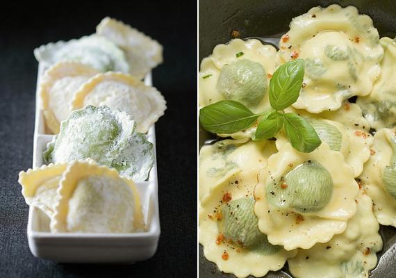 A házi ravioli receptje különböző vegetáriánus töltelékvariációkkal.