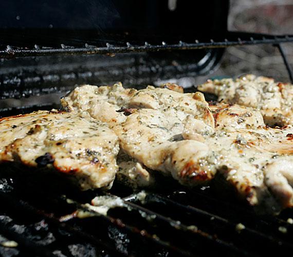 Csirkemell roston  Hozzávalók: 1,2 kg pulyka- vagy csirkemell - esetleg csont nélküli pulykafelsőcomb; 2 evőkanál szárított kakukkfű - vagy egy csokor friss kakukkfű; 2 evőkanál mustár; 1 nagy pohár joghurt  Elkészítés menete:  A húst szeleteld fel és kissé klopfold meg, de ne legyenek túlságosan vékonyak. Kend be mindkét oldalát mustárral, szórd meg a fűszerekkel, majd tedd egy nagyobb tálba a joghurttal úgy, hogy egy réteg húsra egy réteg joghurt kerüljön. Hagyd két-három napig pácolódni.  Sütés előtt a tál szélén húzd le róla a joghurtos masszát, és jól felforrósított rostélyon vagy serpenyőben süsd meg.