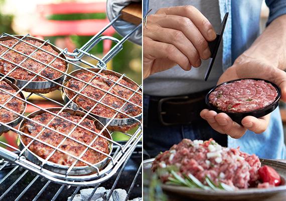 4 előformázott húspogácsa süthető vele egyszerre. Krómozott fémből készült, fa fogantyús és akasztófüles fémkerettel. A grill hamburgersütő húspogácsa formázóval együtt 2 995 forintért lehet a tiéd.