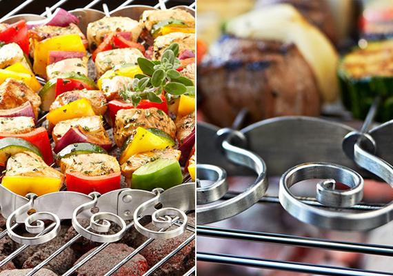 Könnyen és biztonságosan forgatható nyársak – használatukkal egyenletesen átsült étel készíthető. Amennyiben éppen nincs rá szükség, helytakarékosan összecsukható. A grillnyárstartót 4 nyárssal 2 995 forintért vásárolhatod meg a Tchibo webáruházában.